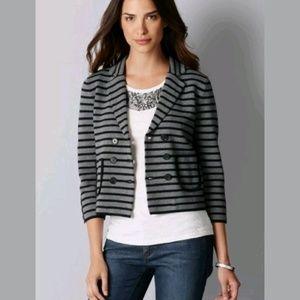 LOFT Double Breasted Knit Blazer Jacket Striped